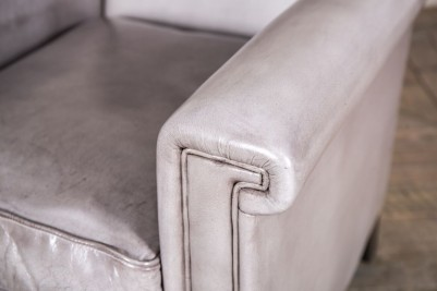 grey leather armchair