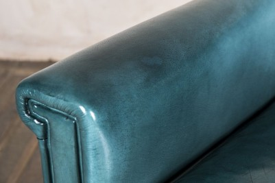 square leather armchair in blue