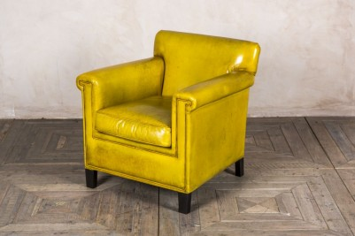 yellow leather armchair