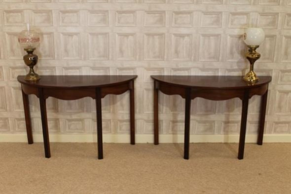 EARLY VICTORIAN D END MAHOGANY CONSOLE TABLES PAIR