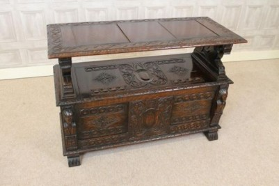 carved oak monks bench settle
