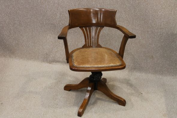 Edwardian Office Chair in Oak with Swivel and Recline Feature