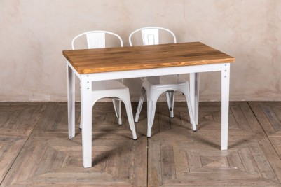 white metal dining room table