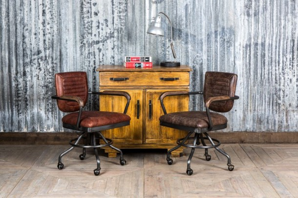 Exeter Leather Vintage Style Office Chair