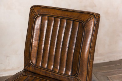 brown leather look dining chair