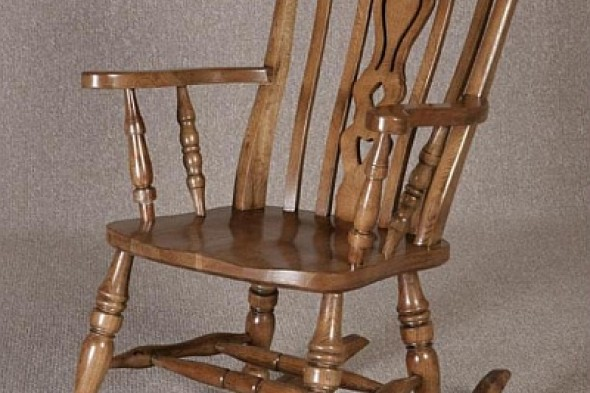 Oak Rocking Chair in a Fiddle Back Design