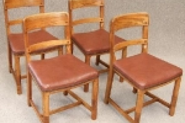 Four Art Deco Oak Dining/kitchen Chairs