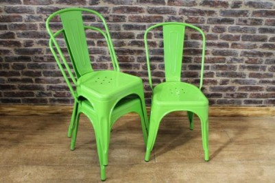 green tolix style chairs