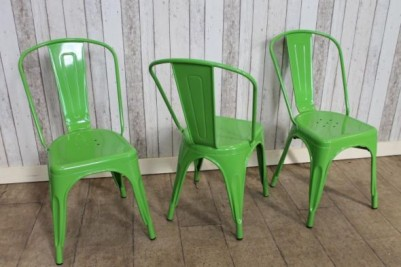 stackable green tolix style chairs