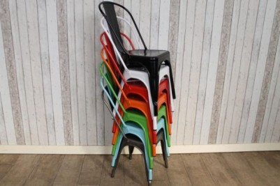 stackable tolix style cafe chairs