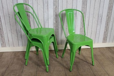 vintage tolix style green cafe chairs