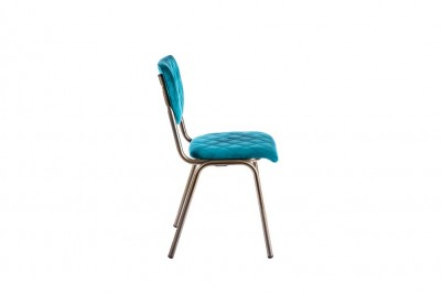 velvet dining chair in aquamarine
