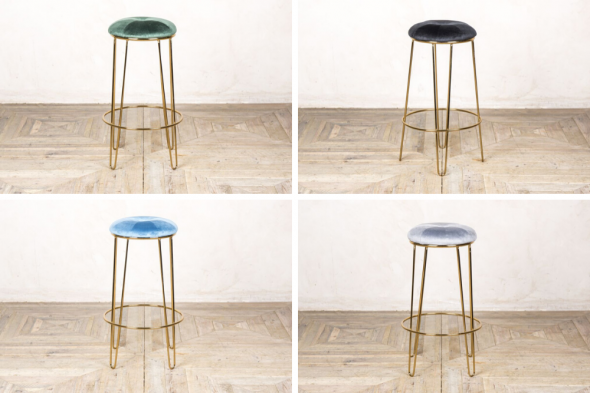 Pair of Ivy Velvet Upholstered Bar Stools