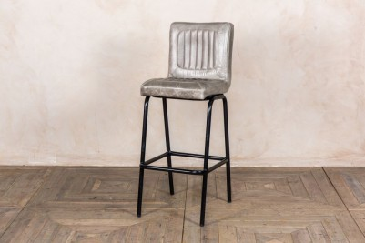 grey leather bar stool