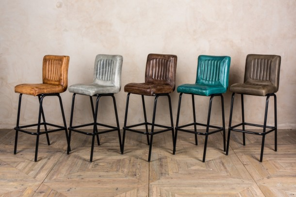 Jenson Distressed Leather Bar Stools