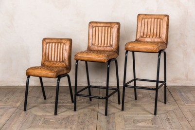 tan ribbed leather stools