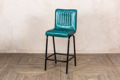 teal leather bar stools
