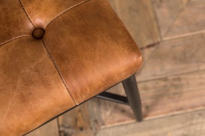 light brown leather foot stool