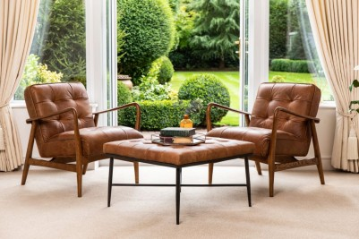 kingsbridge leather footstool and matching hamilton chairs
