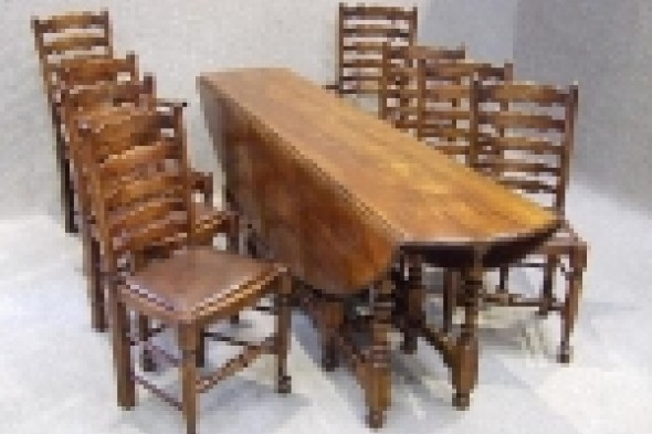 Large Cherrywood Oval Table with 8 Ladder Back Chairs