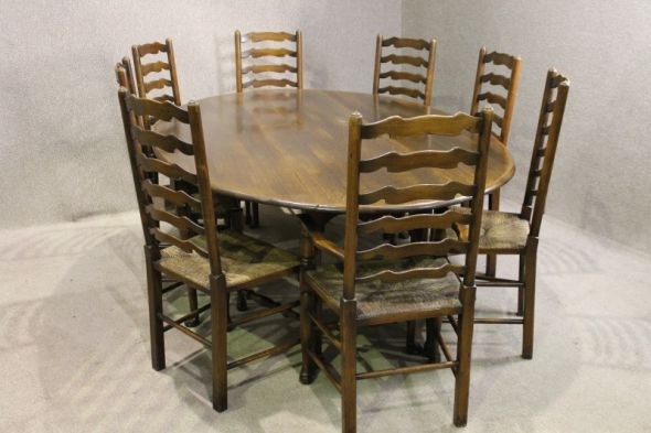 Large Oval Dining Table and Chair