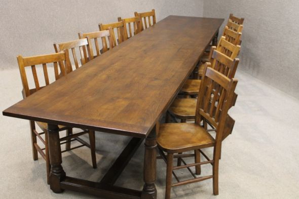 Solid Oak Refectory Table 12ft 6