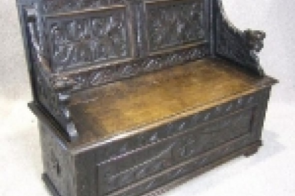 Late Victorian Solid Oak Carved Settle/bench/pew