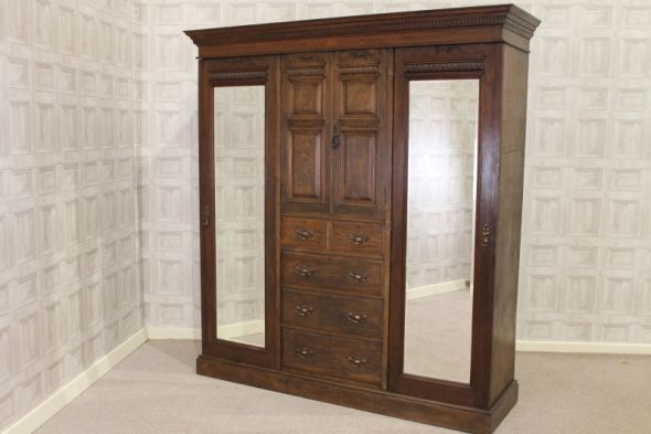 Carved Oak Wardrobe Victorian Antique Late Victorian Bedroom Furniture