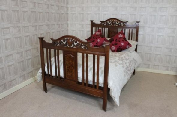 LATE VICTORIAN WALNUT DOUBLE BED