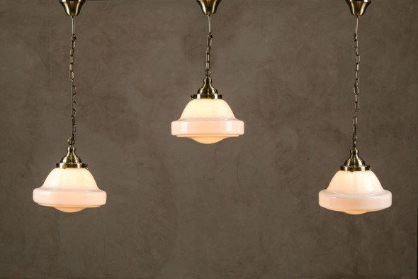 Schoolhouse Pendant Light with Opaline Shade- Brass