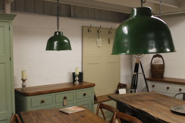 Disc - Small Industrial Dome Light in green