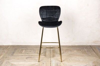 black velvet upholstered bar stool