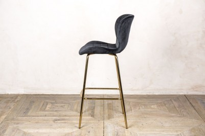 black velvet upholstered stool