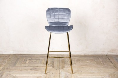 cool grey velvet upholstered bar stool