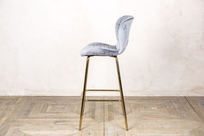 cool grey velvet upholstered stool