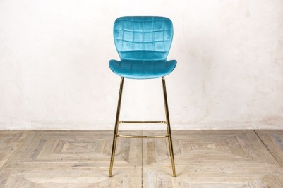 ocean teal velvet upholstered bar stool