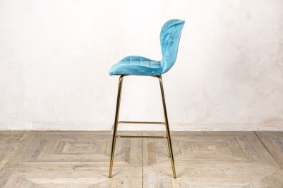 ocean teal velvet upholstered stool