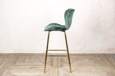 pine green velvet upholstered stool
