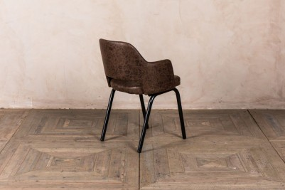 brown faux suede chair