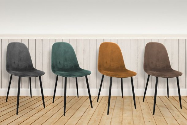 Set of Four Lola Velvet Dining Chairs