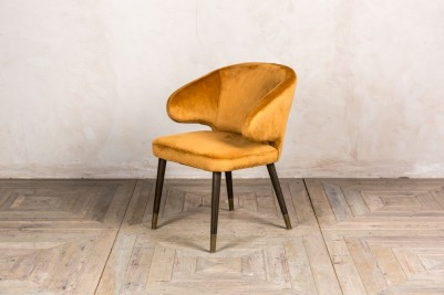 ochre velvet dining chair