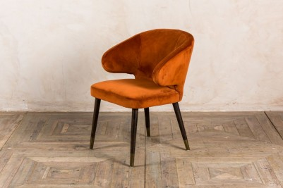 orange velvet dining chair