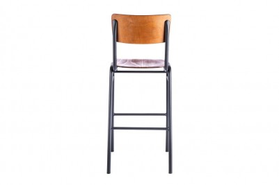 back view of black wooden and metal bar stool