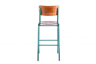 back view of green wooden and metal bar stool