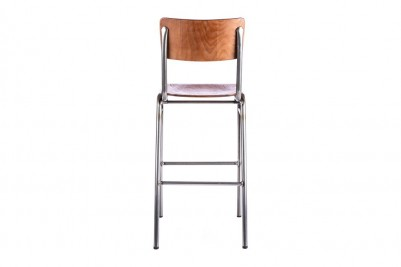 back view of gunmetal wooden and metal bar stool