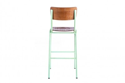 back view of light green wooden and metal bar stool