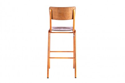 back view of orange wooden and metal bar stool