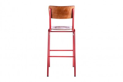 back view of red wooden and metal bar stools