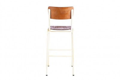 back of white wooden and metal bar stool