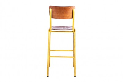 back view of yellow wooden and metal bar stool